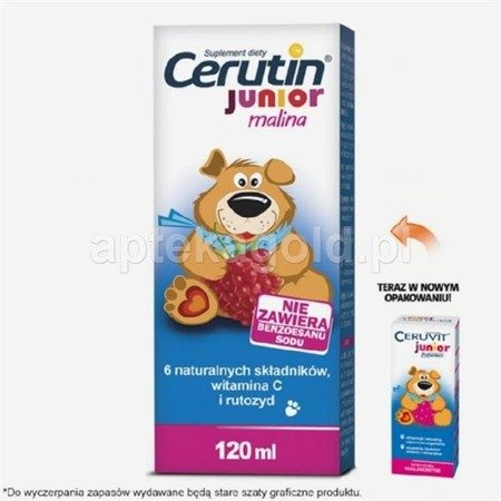 CERUTIN JUNIOR, płyn malinowy - 120ml