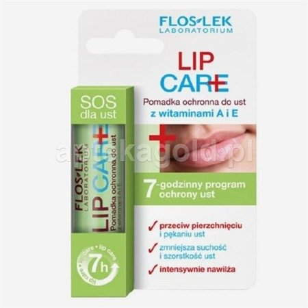 FLOS-LEK LIP CARE, pomadka ochronna do ust z witaminami A i E - 3,6g